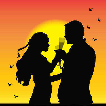 holidays for couples: Couple on sunset Illustration