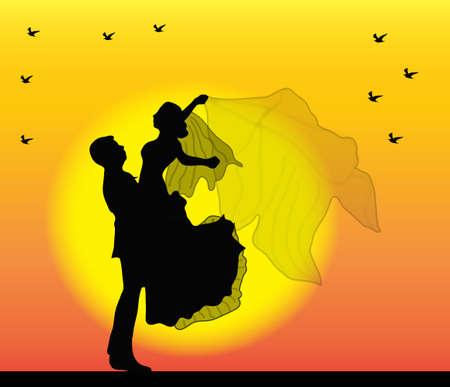 Couple on sunset Illustration