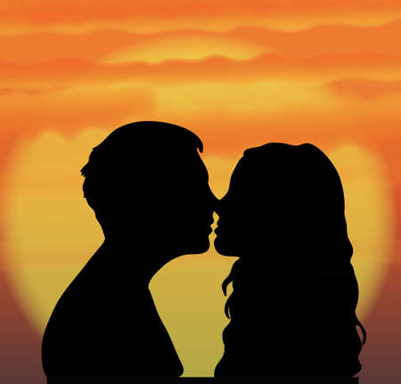 the first love: Couple on sunset Illustration