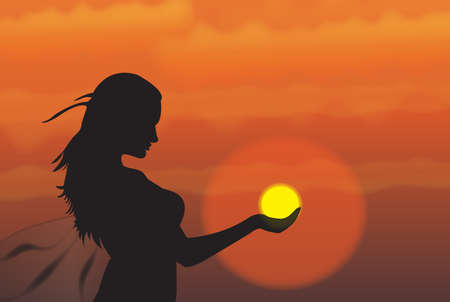 hand silhouette: girl at sunset Illustration