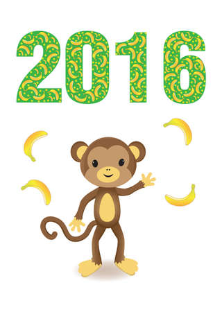 rn: 2016 year of the monkey Illustration