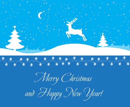 illustrati: greeting the new year and Christmas, deer