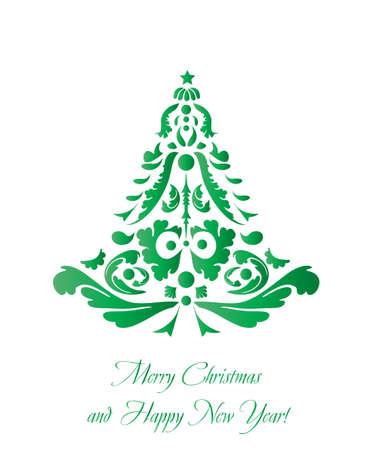 retro christmas: Abstract retro Christmas Tree Illustration