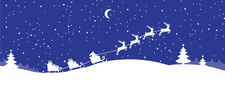 illustratio: Santa Claus with reindeer banner
