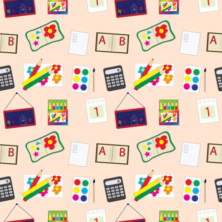 school accessories seamless pattern