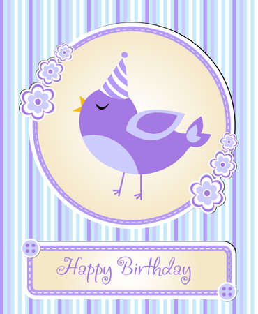 childrens birthday party: greeting template cute childrens birthday party, cartoon bird