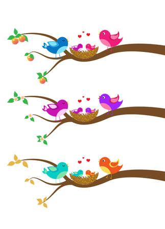 tree with birds: cartoon family of birds on a tree