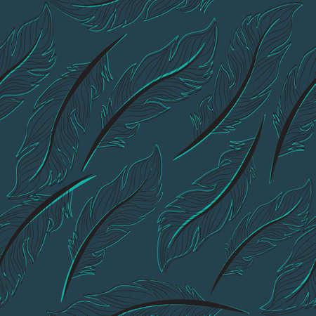 plumes de papier peint sans soudure, élégant papier peint, plumes Dessin vintage, patern, texture, fond sans fin, illustration vectorielle Vecteurs