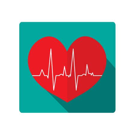 cardiogram: heart icon. cardiogram heart, flat design