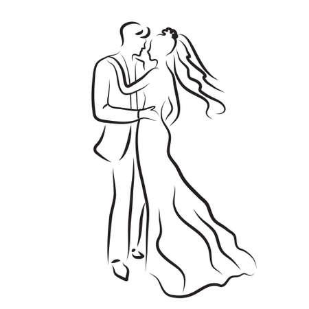 silhouet van de bruid en bruidegom, jonggehuwden schets, hand tekening, bruiloft uitnodiging, vector illustratie Vector Illustratie