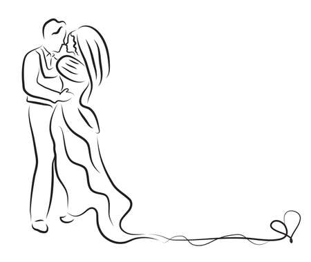 Silhouette von Braut und Bräutigam, Brautpaar Skizze, Handzeichnung, Hochzeit, Einladung, Vektor-Illustration