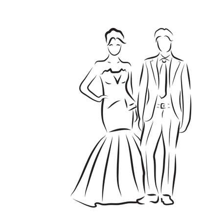 silueta de la novia y el novio, recién casados ??boceto, dibujo a mano, invitación de la boda, ilustración vectorial