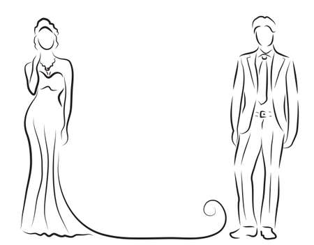 dresses: silhouette of bride and groom, newlyweds sketch, hand drawing, wedding invitation, vector illustration