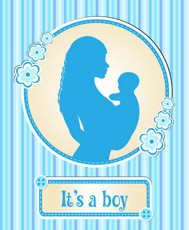 its a boy: Its a boy. card with a newborn baby, the silhouette of a mother and child, congratulations on the birth of a vector