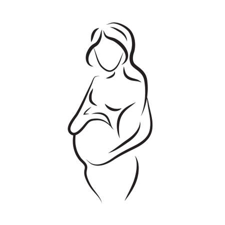 pregnant woman silhouette, sketch, isolated vector symbol