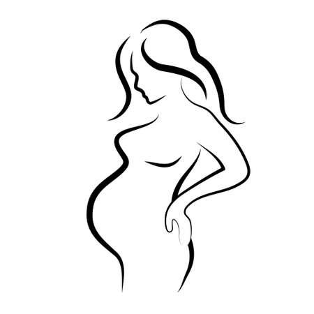 zwangere vrouw silhouet, schets, geïsoleerde vectorsymbool Vector Illustratie