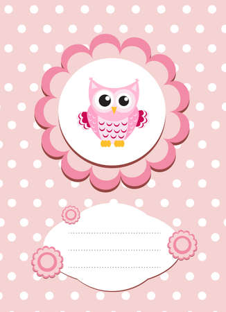 declare: baby card cute owl, baby owl invitation, frame for text cute animal, cartoon owl vector illustration Illustration