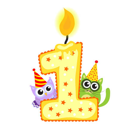 Happy First Birthday Candle and Animals Isolated on white, birthday 1 year, children's card. greeting card vector Illustration