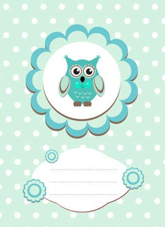 fondo para bebe: tarjeta de beb� b�ho lindo, b�ho del beb� invitaci�n, marco para el texto animal lindo, b�ho ilustraci�n vectorial de dibujos animados