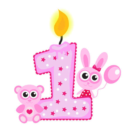 Happy First Birthday Candle and Animals Isolated on white. Pink card, Vettoriali