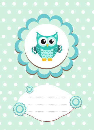 tarjeta de bebé búho lindo, búho del bebé invitación, marco para el texto animal lindo, búho ilustración vectorial de dibujos animados