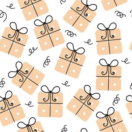 celebratory: Gift seamless texture. Gifts background. Celebratory background. Vector illustration.