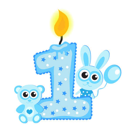 Happy First Birthday Candle and Animals Isolated on white. Blue card, Vettoriali