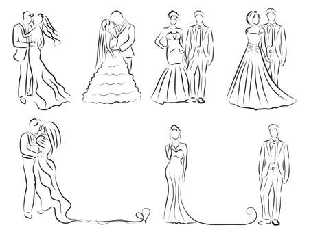 silhouet van de bruid en bruidegom set, jonggehuwden schets, hand tekening, bruiloft uitnodiging, vector illustratie