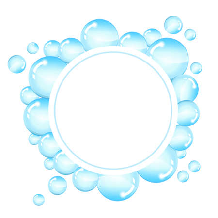 suds: Bubbles frame for text. Round background with shiny soap bubbles and space for text