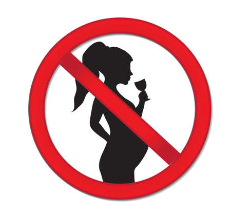 woman drinking wine: Pregnancy no drinking alcohol. Red prohibition sign-pregnant woman with a drink of wine.