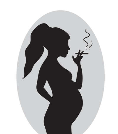 smokers: Pregnant woman with a cigarette. Pregnant smokers. Vector illustration