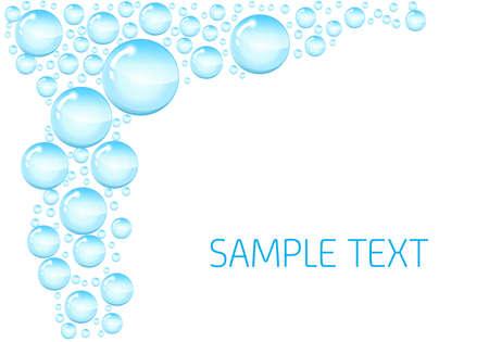 Burbujas de jabón de fondo. de fondo con las burbujas de jabón brillantes y espacio para texto. Círculo y brillante jabón líquido transparente, ilustración vectorial Foto de archivo - 58432286