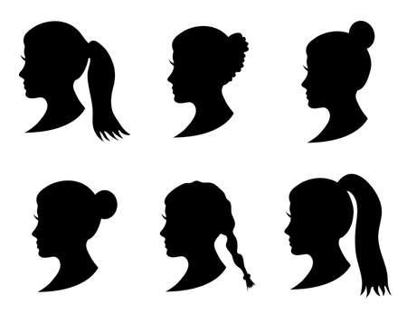 Set schwarze Silhouette Mädchen Kopf mit verschiedenen Frisur: Schwanz, Pferdeschwanz, Brötchen, Zopf-Frisur. Junge Frauen Gesicht im Profil mit langen Haaren. Isoliert auf weißem Hintergrund. Vektor-Illustration