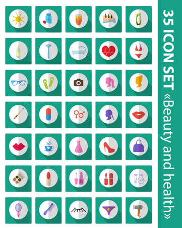 epilator: Vector set of flat icons beauty, fashion, health. Cosmetics and body care, 35 icons set.