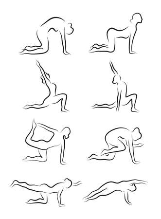 asanas: Set of sketches of silhouettes of yoga asanas. The girl is engaged in yoga. vector illustration