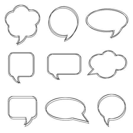 Blank empty white speech bubbles. Stickers of speech bubbles vector set Vettoriali