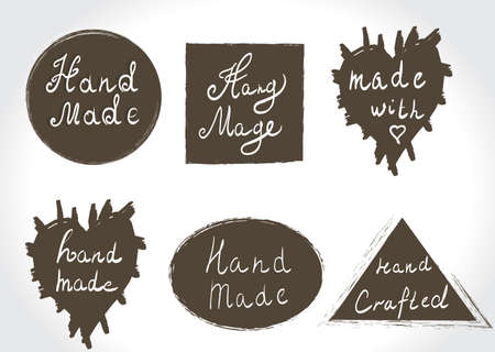 home product: Set of vintage hand made labels. Home Made and Hand Made Product Stamps. Hand lettering calligraphic inscription. Vector illustration.