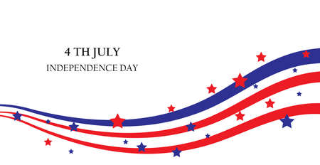 july 4: abstract ribbons, flag banner July 4 Independence Day of America, USA. Vector illustration; Illustration