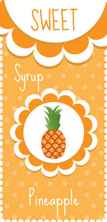 syrup: Sweet fruit labels for drinks, syrup, jam. Pineapple label.