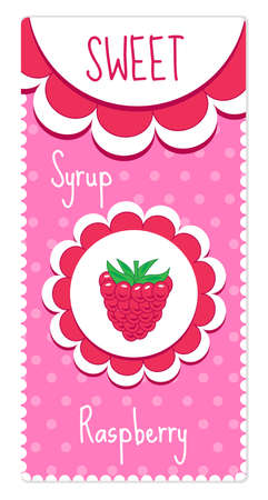 syrup: Sweet fruit labels for drinks, syrup, jam. Raspberry label.