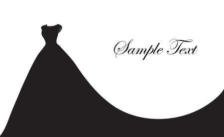 Robe de mariée silhouette, bannière, modèle vierge pour le texte, l'espace blanc pour votre texte. Carte postale invitation illustration vectorielle Vecteurs