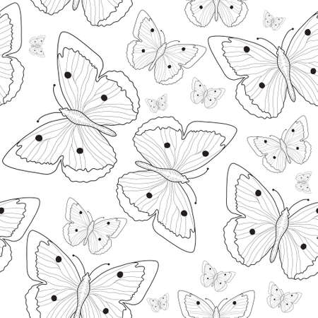butterfly in hand: Butterfly hand drawing seamless pattern sketch. Black and white butterfly background. Vector illustration