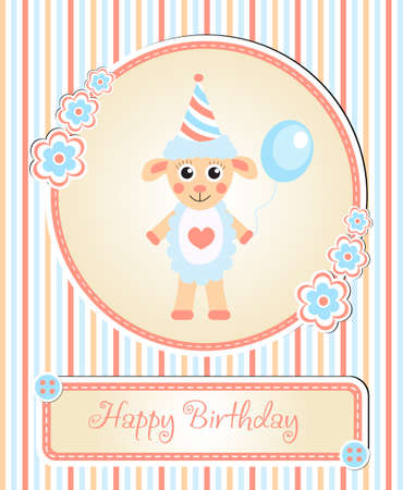 childrens birthday party: greeting template cute childrens birthday party, cartoon sheep