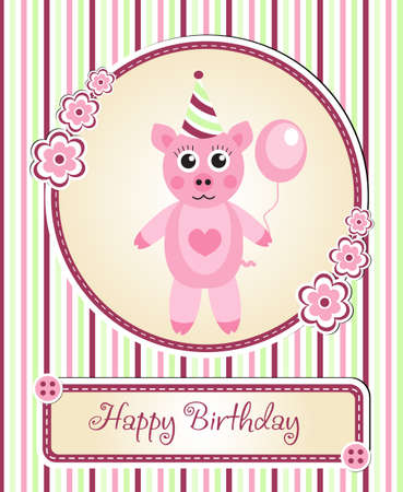 childrens birthday party: greeting template cute childrens birthday party, cartoon pig