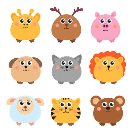 funny face: Set of cute animals rounded shape. Round animals. Vector illustration Illustration