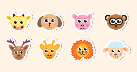 animal head: cute baby animal head stickers vector illustration