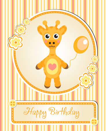 childrens birthday party: greeting template cute childrens birthday party, cartoon giraffe Illustration