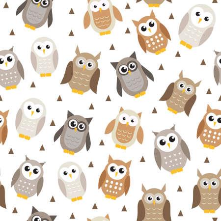 owl illustration: Cute cartoon owl seamless texture. Owl pattern. Vector illustration