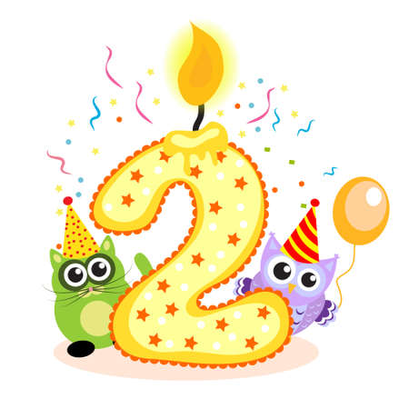 second birthday: Happy Second Birthday Candle and Animals Isolated on white. The number two. Vector illustration