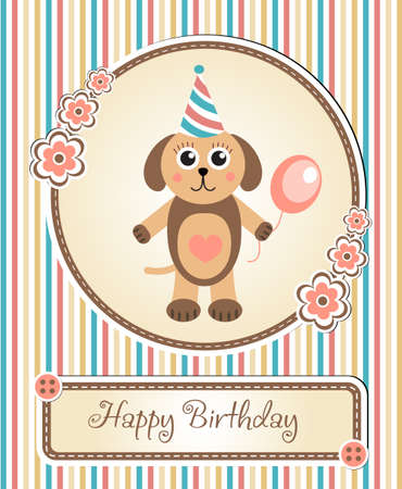 childrens birthday party: greeting template cute childrens birthday party, cartoon dog puppy